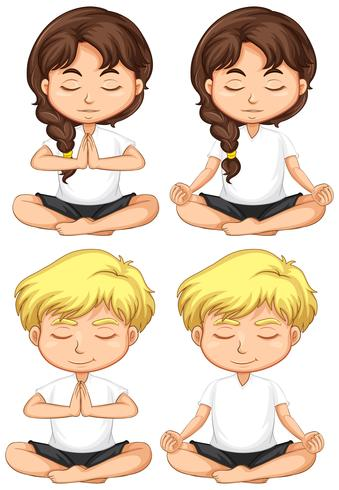 Set of young children meditating