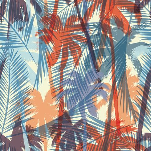 Seamless exotic pattern with palm leaves. vector