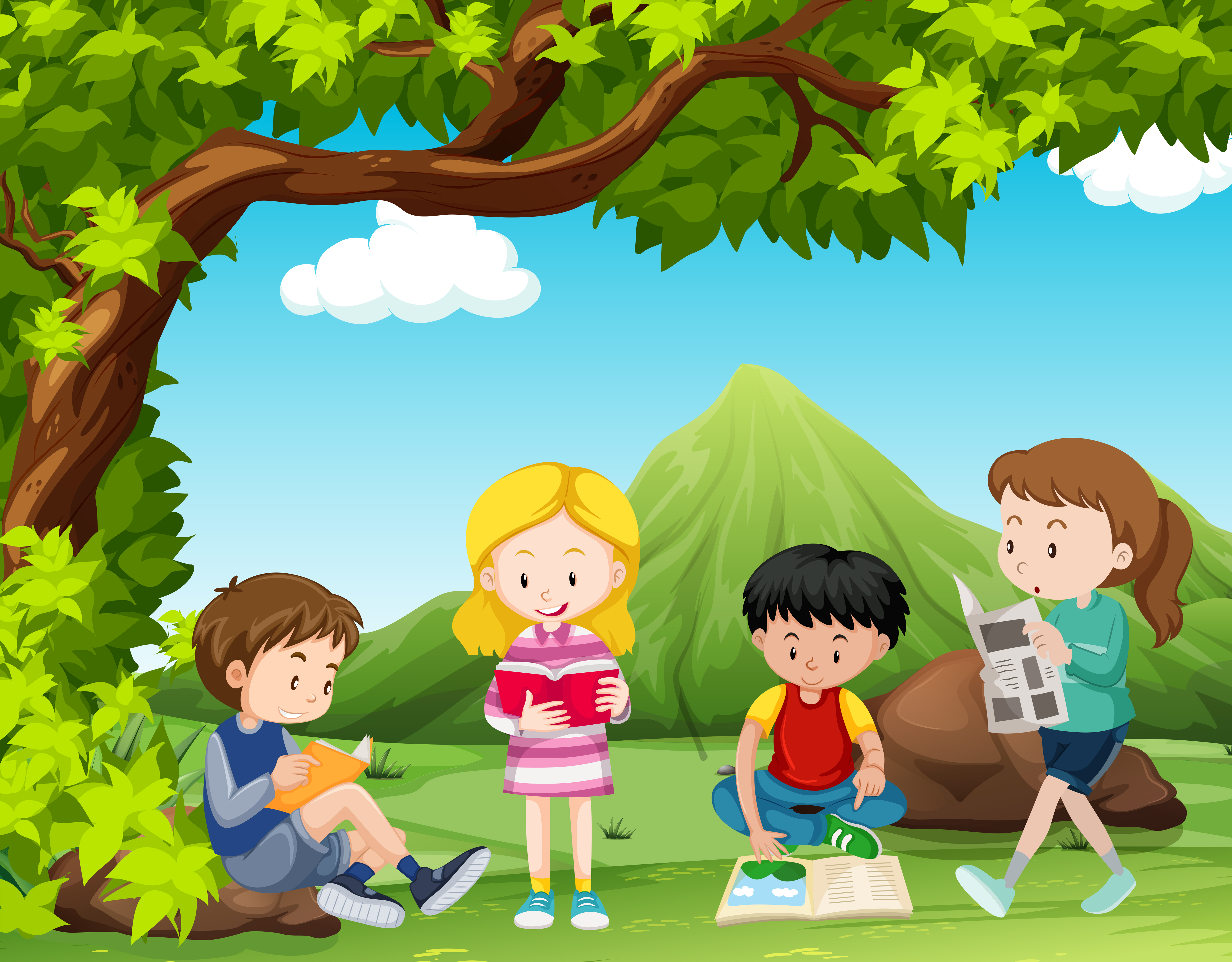 Four kids reading books under the tree - Download Free ...