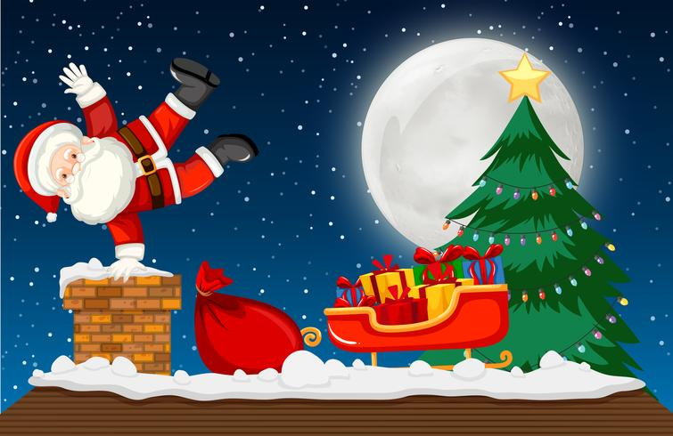 Santa going down chimney scene vector