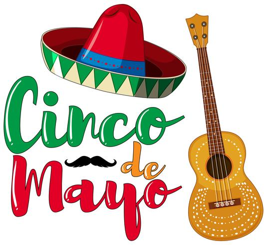 Diseño del cartel del Cinco de Mayo con sombrero y guitarra.