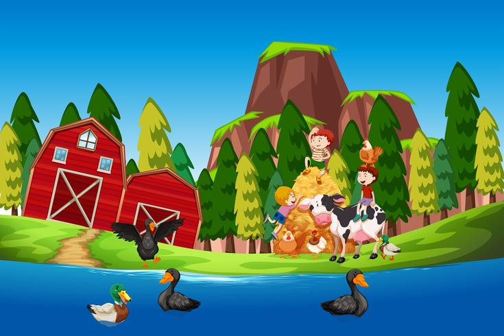 Enfants à la ferme