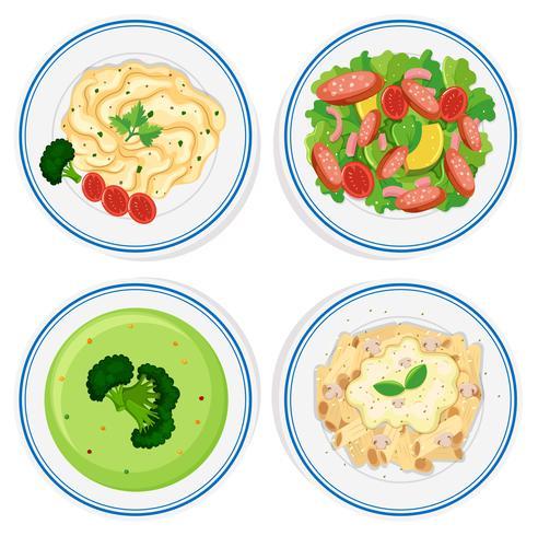 Verschiedene Arten von Lebensmitteln auf Teller