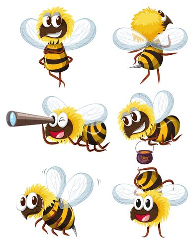 Bee characters in different actions