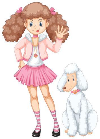 Söt tonårsflicka och pudelhund