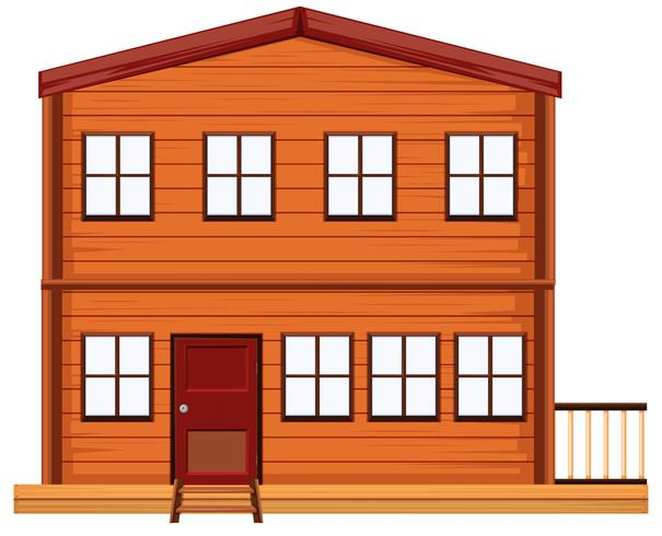 Flat wooden house on white background