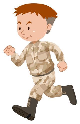 Soldado em uniforme marrom correndo