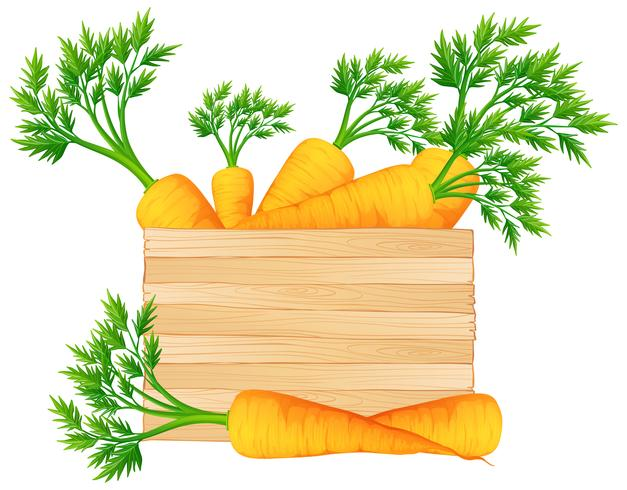 Wooden box with carrots vector
