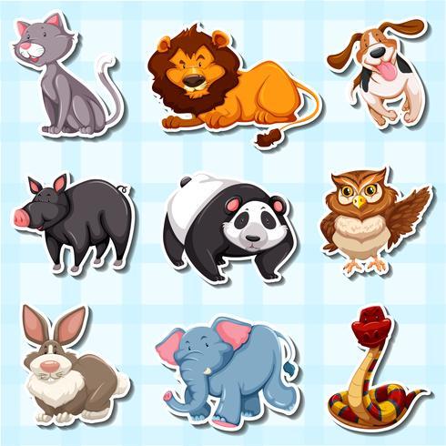 Stickerontwerp voor veel dieren