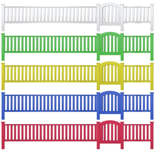 Fence and garden gate in five colors