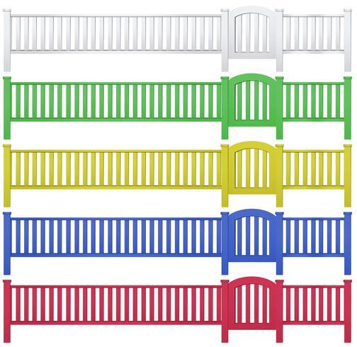 Clôture et portail de jardin en cinq couleurs