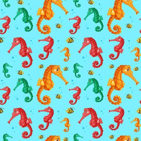 Modèle sans couture de l'hippocampe coloré