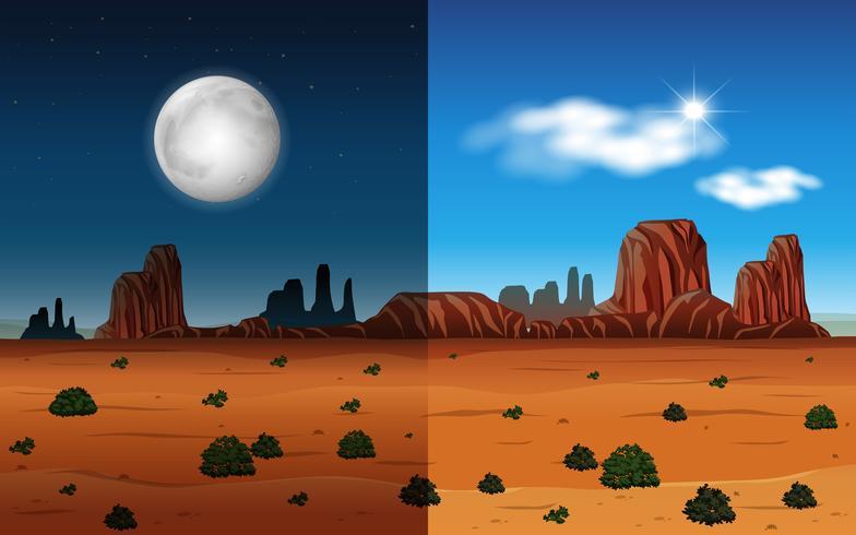 Dia e noite em um deserto