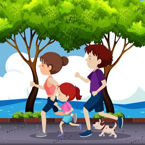 Famille jogging sur la route