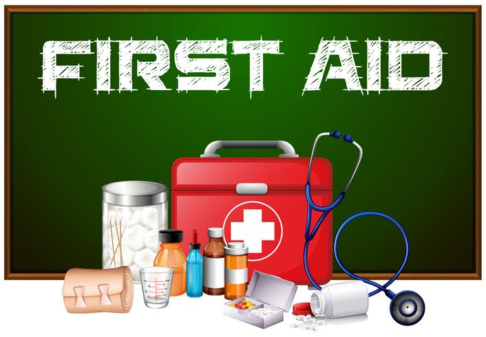 First aid word on board and different equipment in kit