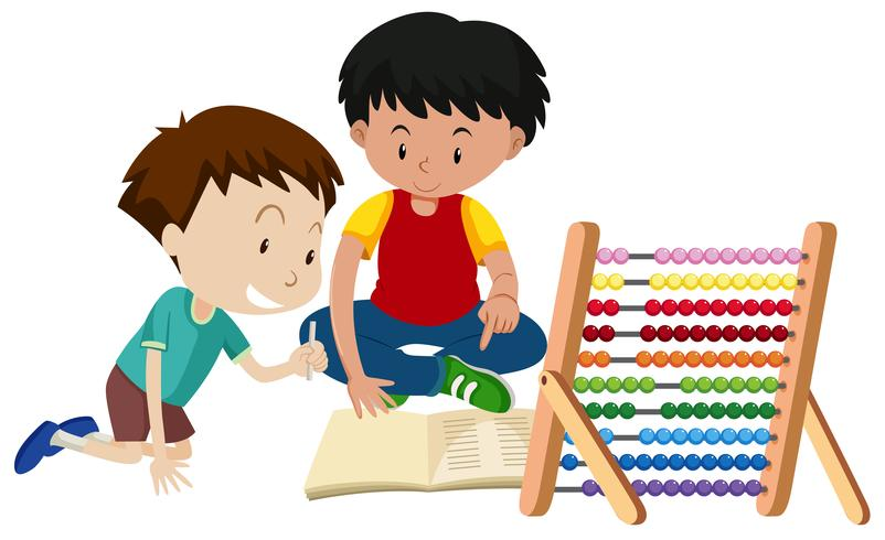 Brother Teaching Homework with Abacus