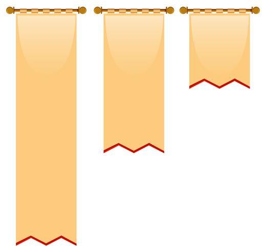 Trois tailles de drapeau avec style médiéval