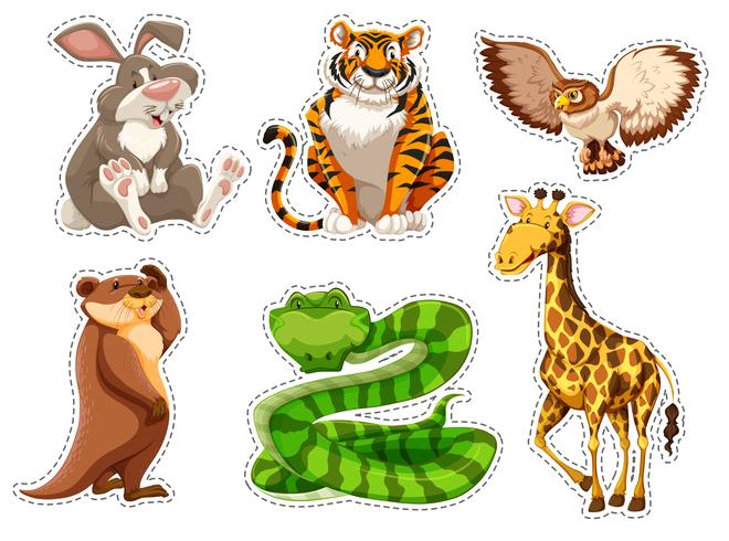 Aufklebersatz wilde Tiere
