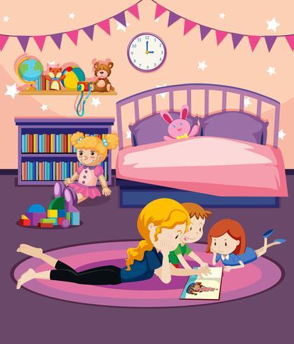 Un livre de lecture de mère aux enfants