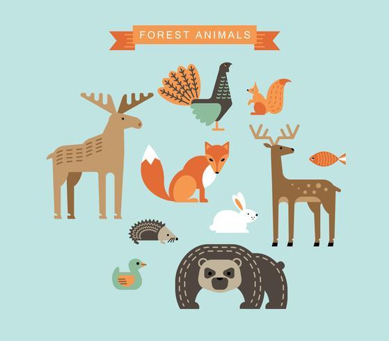 Ilustrações vetoriais de animais da floresta.