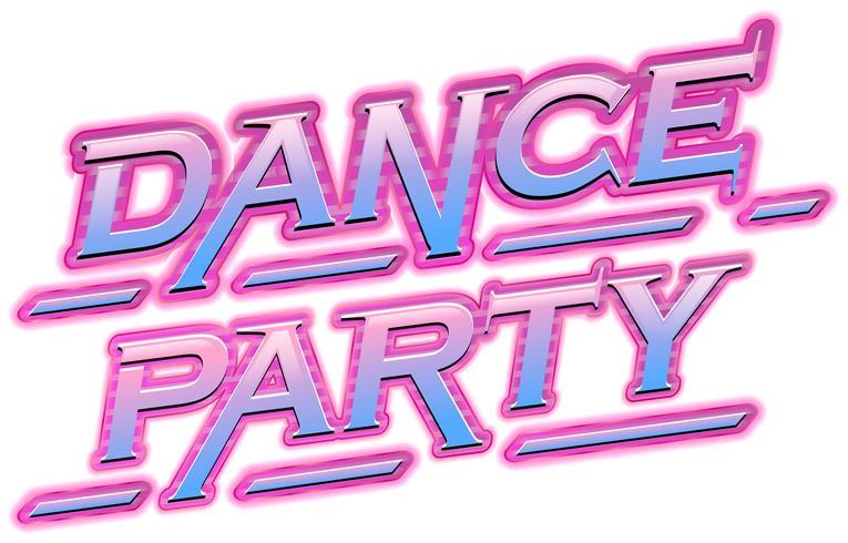 Testo di festa di ballo al neon rosa