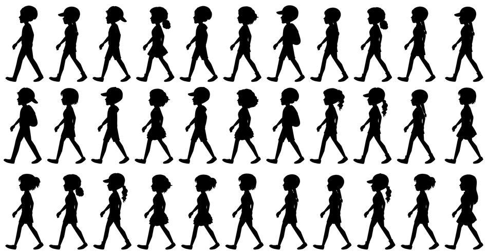 Silhouet van kinderen lopen
