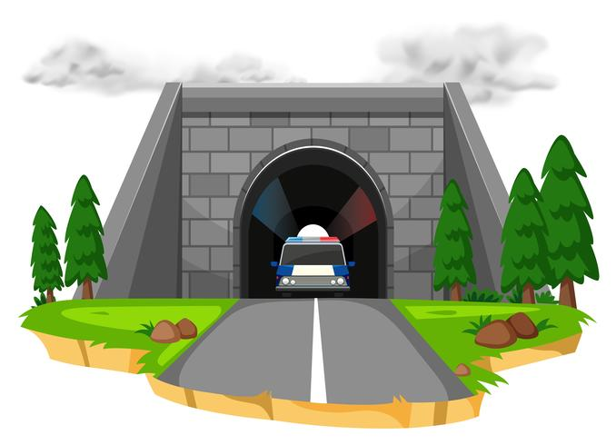 Auto della polizia nel tunnel