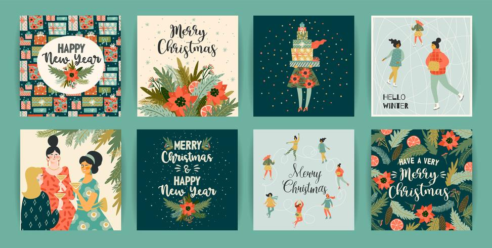 Christmas and Happy New Year templates. Trendy retro style. vector