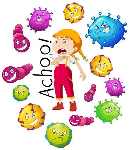 Fille et nombreux virus sur fond blanc