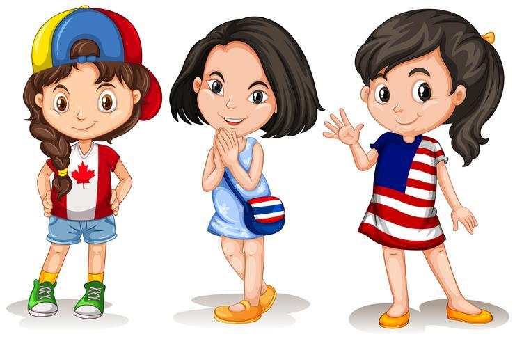 Drei Mädchen aus verschiedenen Ländern