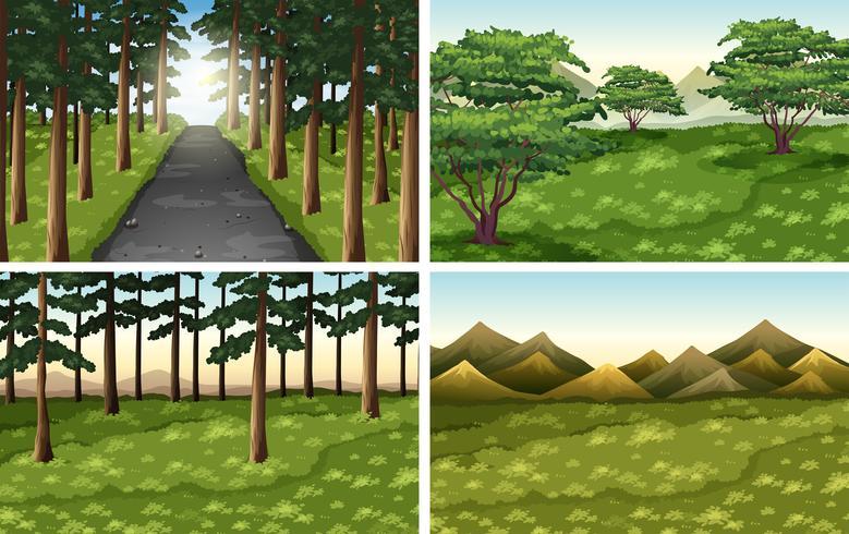 Ensemble de scènes en plein air de nature différente