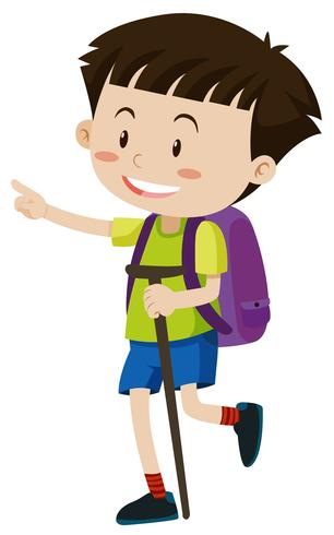 Pojke med ryggsäck och käpp