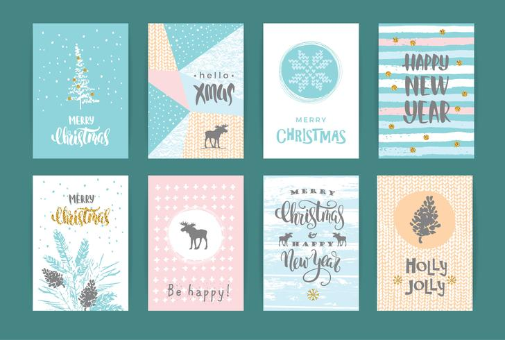 Set med konstnärliga kreativa god jul och nyårskort.