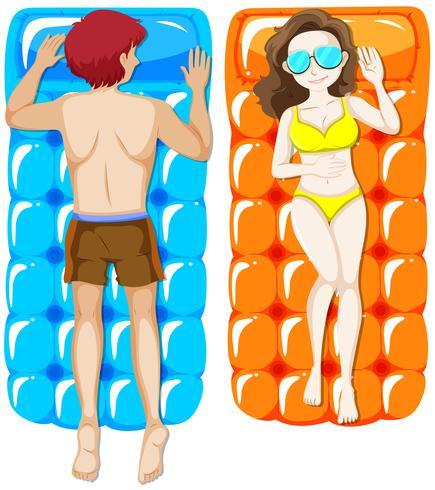 Homme et femme sur un radeau flottant