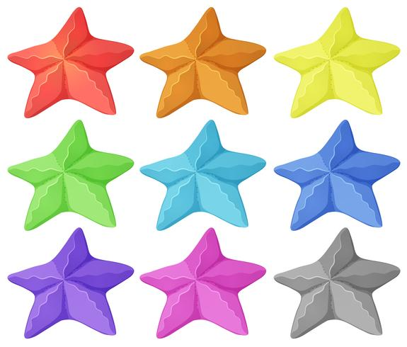 Starfish in nine different colors