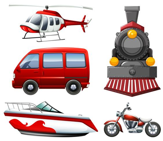 Different types of transportation in red