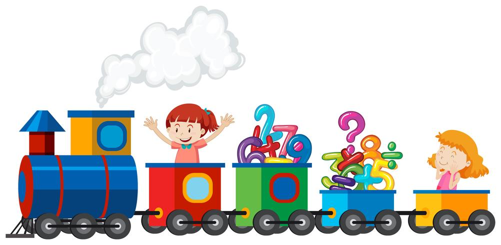 Girls riding a train with math number