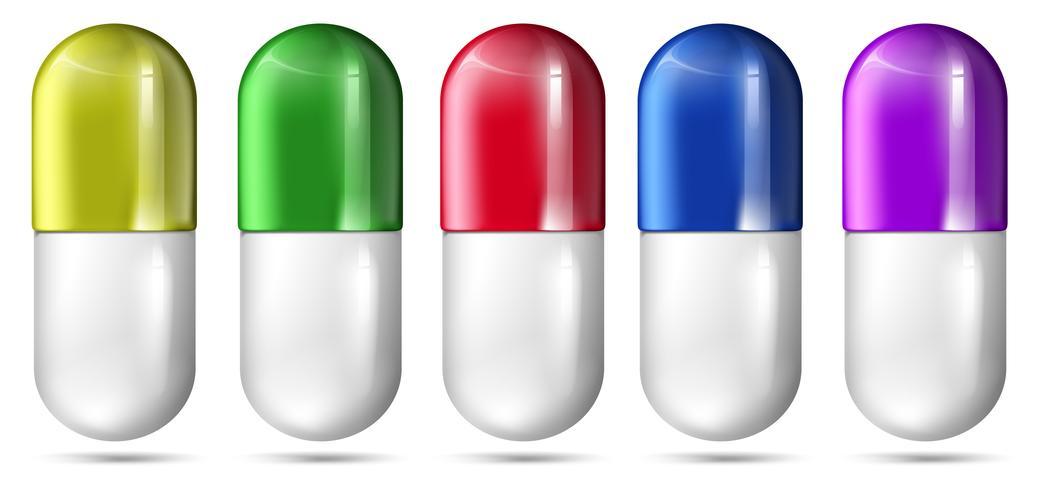 Un set di capsule colorate
