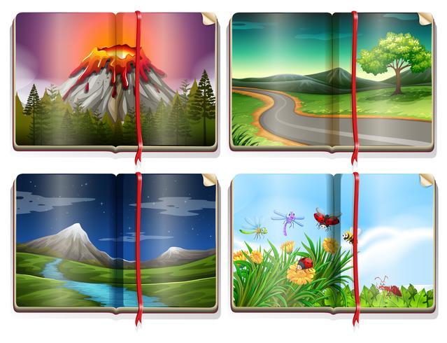 Un ensemble de livre de paysage