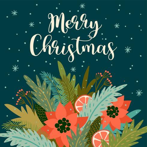 Weihnachten und Happy New Year Illustration. Modischer Retro-Stil.