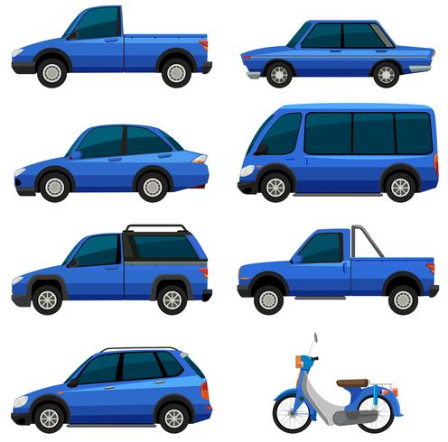 Différents types de transports en couleur bleue