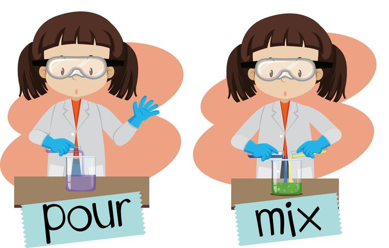 Words pour and mix with girl doing experiment