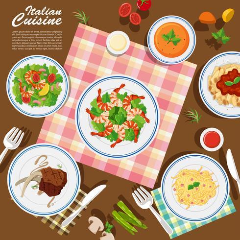 Italienische Küche auf dem Tisch