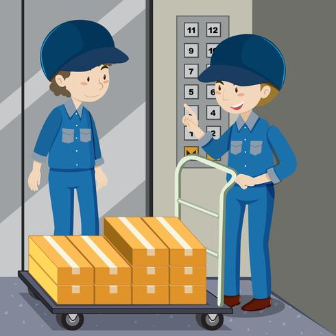 Two workers pushing boxes