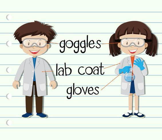 Niño y niña en traje de ciencia
