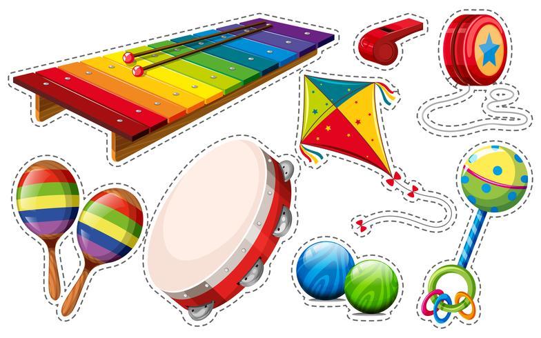 Stickerset van muziekinstrument en speelgoed