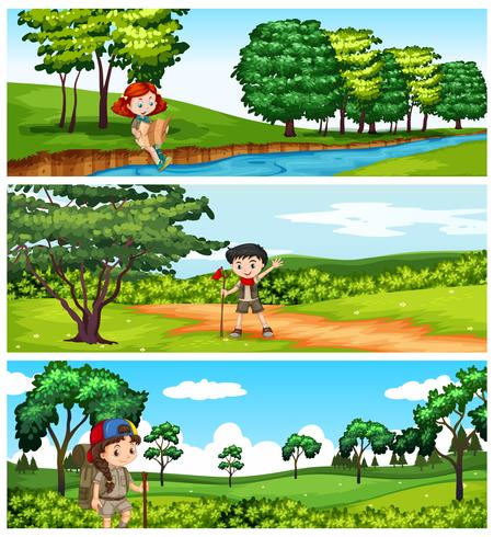 Children hiking in the park - Download Free Vector Art, Stock Graphics & Images