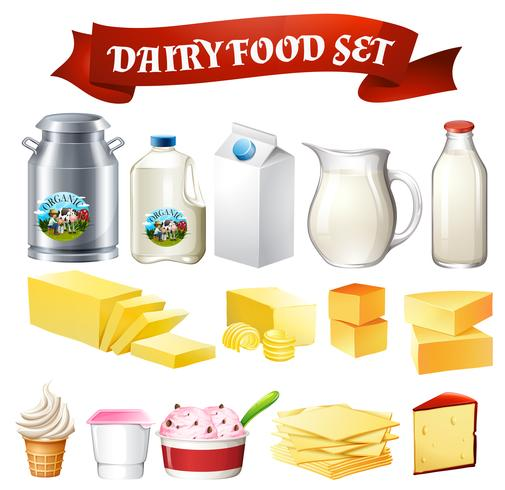 Dairy products food set vector