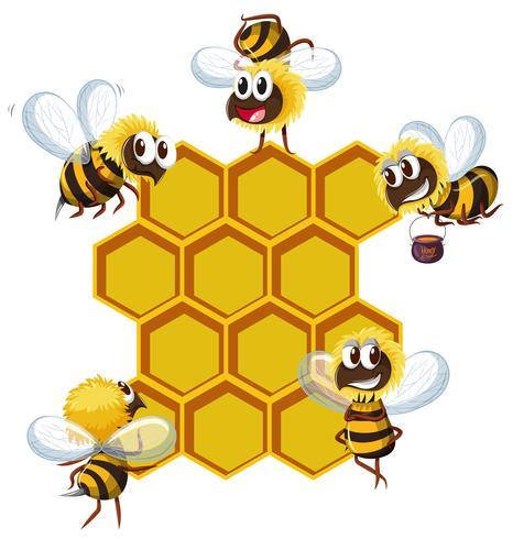 Lyckliga bin och bikupa