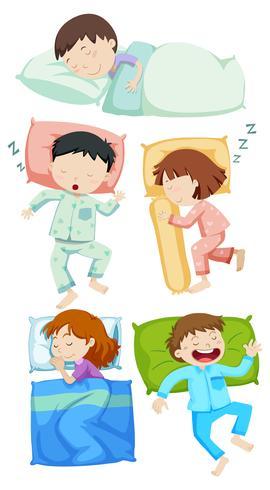 Een reeks kinderen slapen